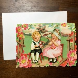 Valentines Day Card Vintage Victorian Style ADD ON